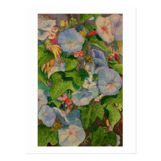 Carte Postale Peinture d'aquarelle des fleurs de gloire de matin