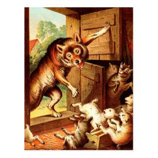 Carte Postale Peinture d'art de conte de fées de ~ de loup et de