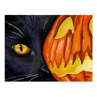 Carte Postale Peinture de chat noir et de citrouille de
