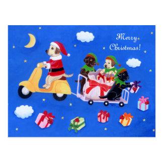 Carte Postale Peinture de la livraison de Labrador de Noël