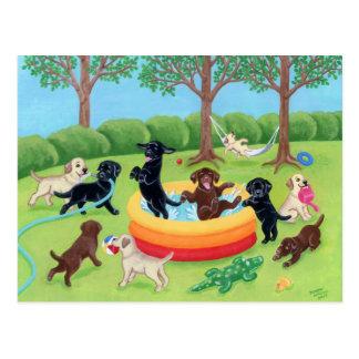 Carte Postale Peinture de Labradors d'amusement d'été