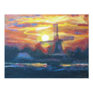 Carte Postale Peinture de moulin à vent de coucher du soleil
