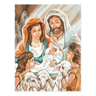 Carte Postale Peinture de nativité avec de petits garçons de