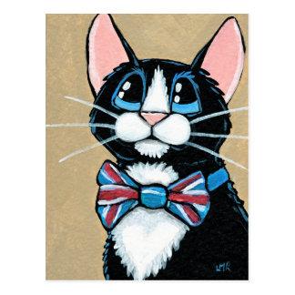 Carte Postale Peinture de port de cravate d'arc de chat