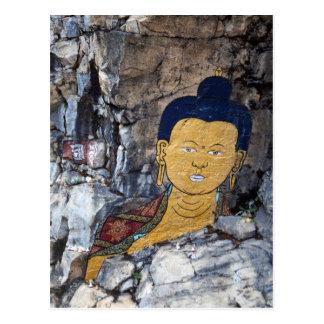 Carte Postale Peinture de roche de Bouddha
