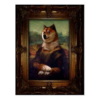 Carte Postale Peinture de Shibe Meme de beaux-arts de Mona Lisa