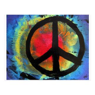 Carte Postale Peinture de signe de paix d'arc-en-ciel d'art de