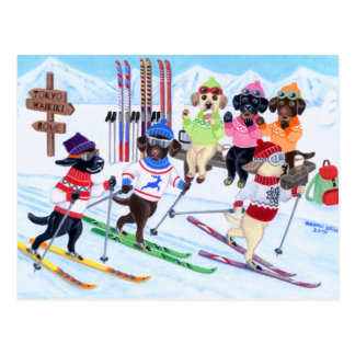 Carte Postale Peinture de ski nordique de Labradors
