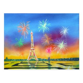 Carte Postale Peinture de Tour Eiffel à Paris