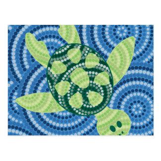 Carte Postale Peinture indigène de point de tortue