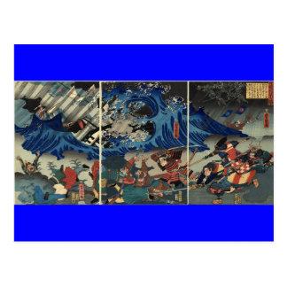 Carte Postale Peinture japonaise antique des samouraïs et des