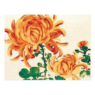 Carte Postale Peinture japonaise vintage des chrysanthèmes