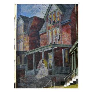 Carte Postale Peinture murale :  Jeune mariée écrivant sa