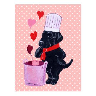 Carte Postale Peinture noire de chef de Labrador