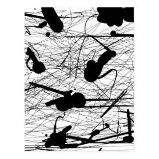 Carte Postale Peinture noire originale d'éclaboussure