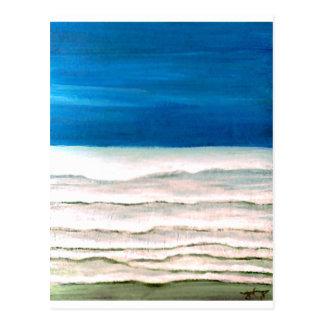 Carte Postale Peinture pluvieuse de ressacs de surf de plage de