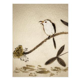 Carte Postale Peinture traditionnelle chinoise d'encre avec des