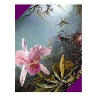 Carte Postale Peinture tropicale de forêt de fleur d'orchidée de