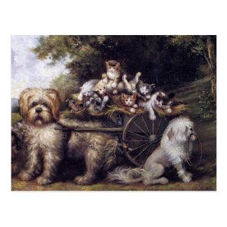 Carte Postale Peinture vintage des chiens et des chats voyageant