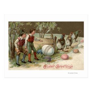 Carte Postale Pèlerins précisant des oeufs de pâques
