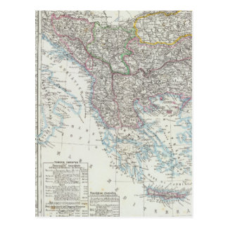 Carte Postale Péninsule balkanique, Turquie, Serbie, l'Europe