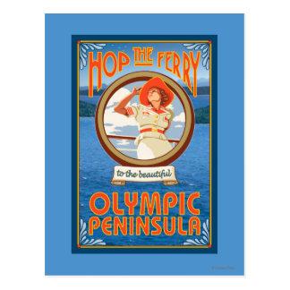 Carte Postale Péninsule olympique, WashingtonHop le ferry