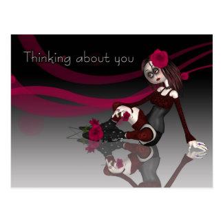 Carte Postale Pensant à vous - la poupée de chiffon gothique