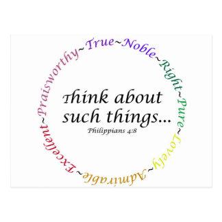 Carte Postale Pensez à de telles choses… 4:8 de Philippiens
