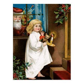 Carte Postale Père Noël à la fenêtre