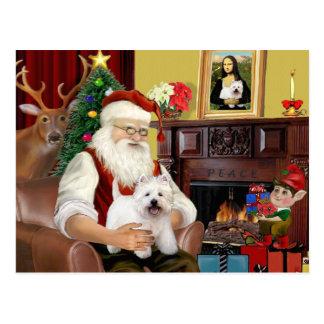 Carte Postale Père Noël à la maison - Terrier des montagnes