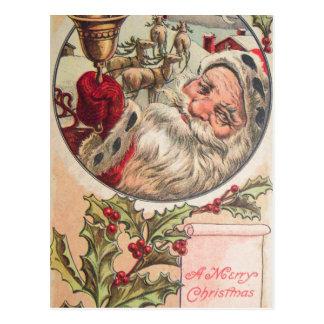 Carte Postale Père Noël avec Bell et houx