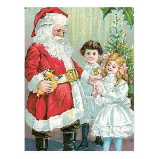 Carte Postale Père Noël avec des enfants