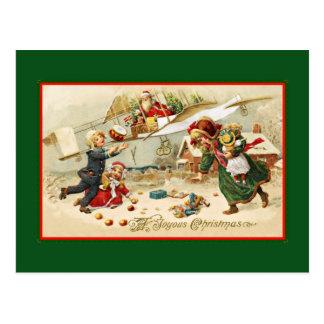 Carte Postale Père Noël dans un avion