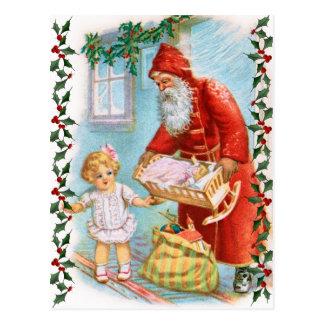 Carte Postale Père Noël distribuant des cadeaux de Noël