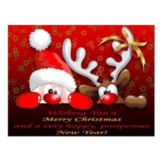 Carte Postale Père Noël drôle et Noël Postcar de bande dessinée