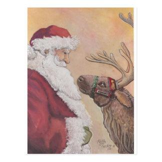 Carte Postale Père Noël et comète