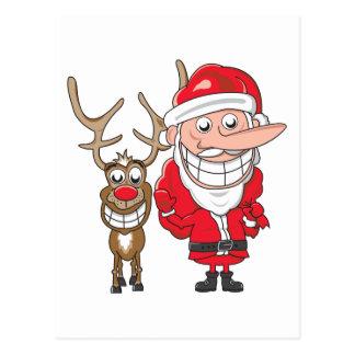 Carte Postale Père Noël et renne