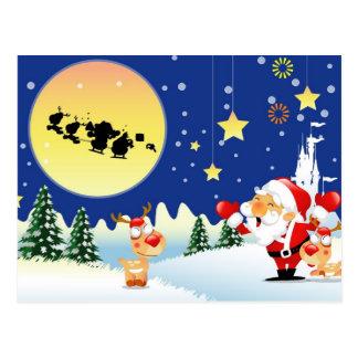 Carte Postale Père Noël et Rudolph