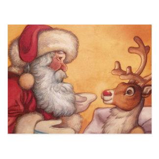 Carte Postale Père Noël et Rudolph avant Noël
