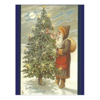 Carte Postale Père Noël et TreeMan