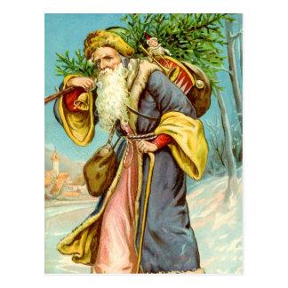 Carte Postale Père Noël soutenant des cadeaux