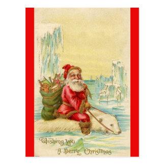 Carte Postale Père Noël sur un ours blanc