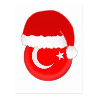 Carte Postale Père Noël turc, drapeau et casquette