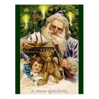 Carte Postale Père Noël vintage avec le nounours et le bateau