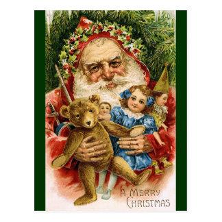 Carte Postale Père Noël vintage avec le nounours et les poupées