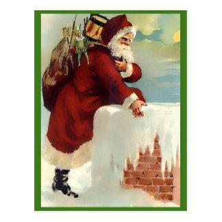 Carte Postale Père Noël vintage descendant la cheminée (Nice