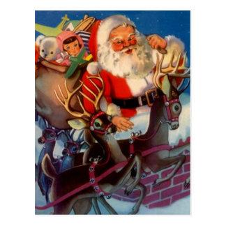 Carte Postale Père Noël vintage et cheminée de jouets de