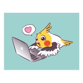Carte Postale Perroquet de dessin mignon d'oiseau de Macbook de