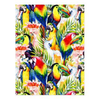 Carte Postale Perroquets et palmettes