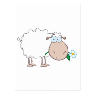Carte Postale Personnage de dessin animé de moutons blancs